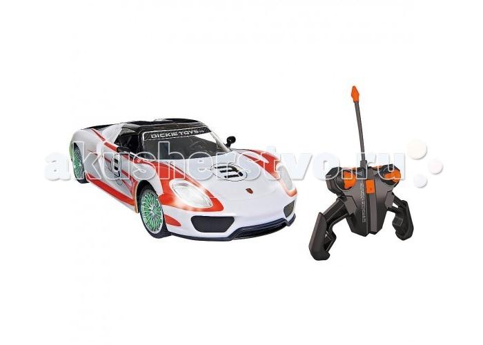 Dickie Машина Porsche Spyder 1:16Машина Porsche Spyder 1:16Dickie Машина Porsche Spyder 1:16 обязательно понравится вашему малышу и займет его внимание надолго.  Особенности: Разгон до 100 км/ч за 2,5 сек. Максимальная скорость 345 км/ч.  Игрушка создавалась в тесном сотрудничестве с компанией Porche.  В машинке записан оригинальный звук мотора Porsche 918 Spyder.  Кроме этого были установлены шины Michelin как и у оригинала.  Машинка работает от батареек, которые входят в комплект поставки. Полный набор функций вождения, диски с подсветкой, звук,2-х канальный, скорость до 10 км / ч. Масштаб - 1:16  Полоса частот: 2405 - 2475МГц, Мощность: не более 10 мВт.<br>