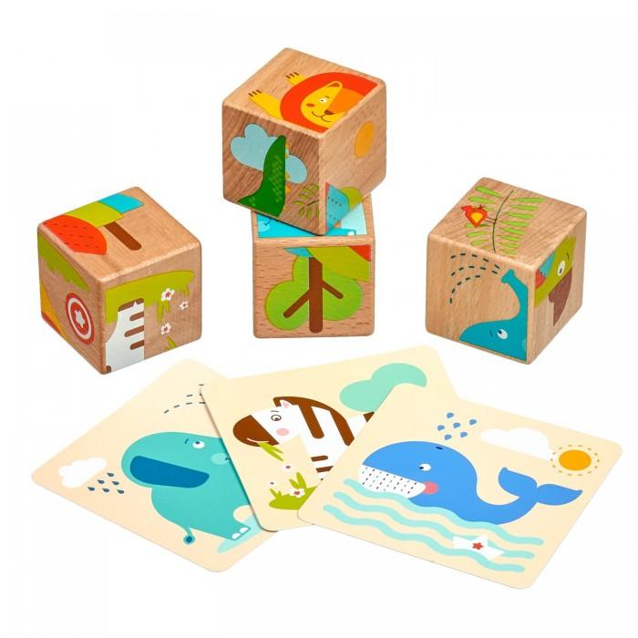 Картинка для Деревянные игрушки Lucy & Leo Набор кубиков Дикие животные