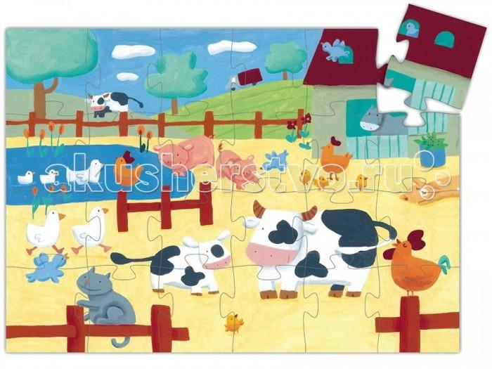 Пазлы Djeco Пазл Коровы на ферме 24 элемента игра tomy приключения трактора джонни и коровы на ферме 37722 1