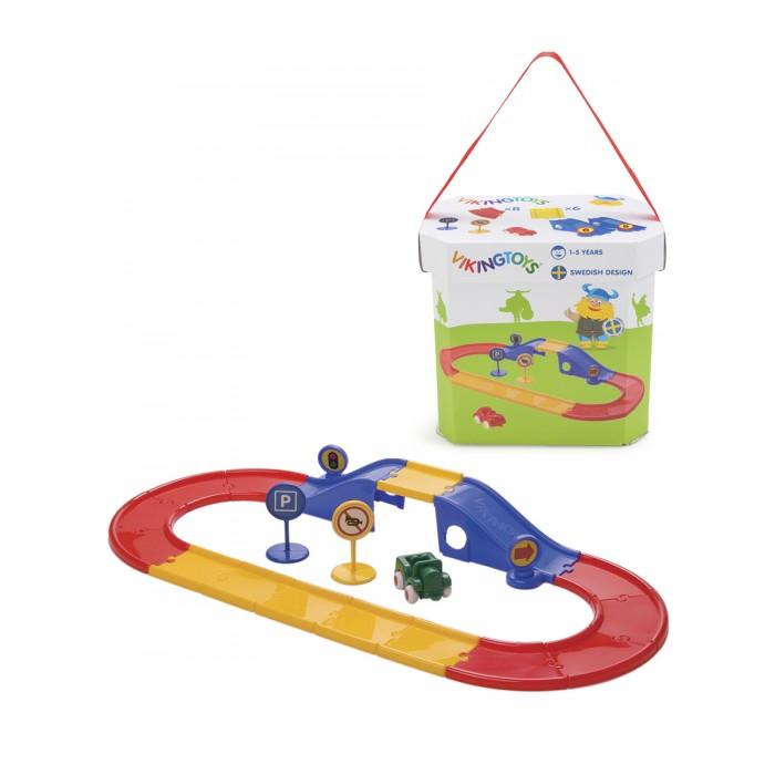 Машины Viking Toys Набор City Дорога с мостом 19 элементов