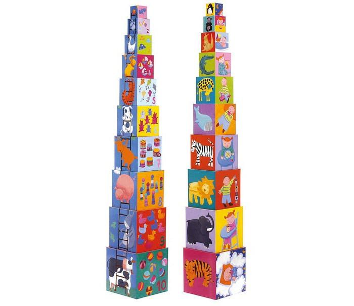 Развивающие игрушки Djeco Кубики-пирамида Забавные кубики развивающие деревянные игрушки кубики азбука