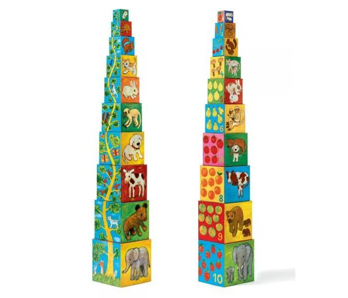 Развивающие игрушки Djeco Кубики-пирамида Мои друзья игрушки для детей