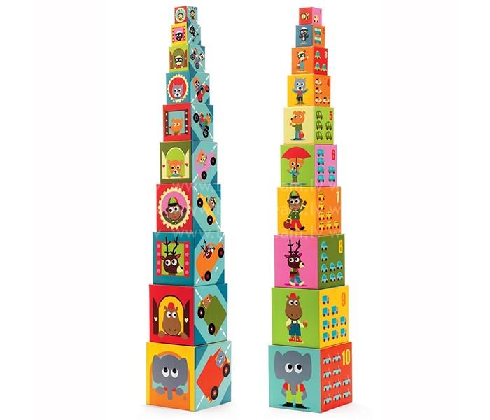 Картинка для Развивающие игрушки Djeco Кубики-пирамида Машины