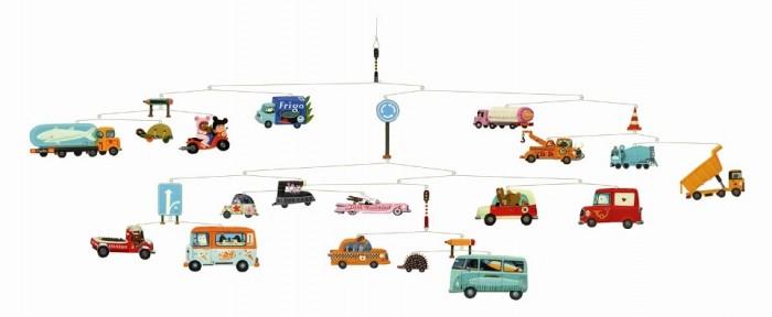 Аксессуары для детской комнаты Djeco Мобиль Транспорт djeco мобиль полет