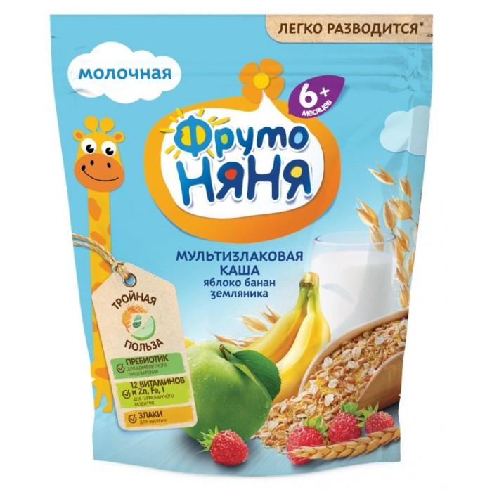 Купить ФрутоНяня Молочная мультизлаковая каша с яблоком бананом и земляникой с 6 мес. 200 г в интернет магазине. Цены, фото, описания, характеристики, отзывы, обзоры