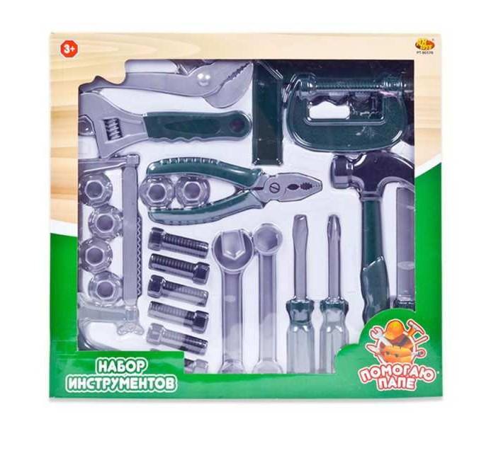 Игровые наборы ABtoys Помогаю папе Набор инструментов в коробке (24 предмета)