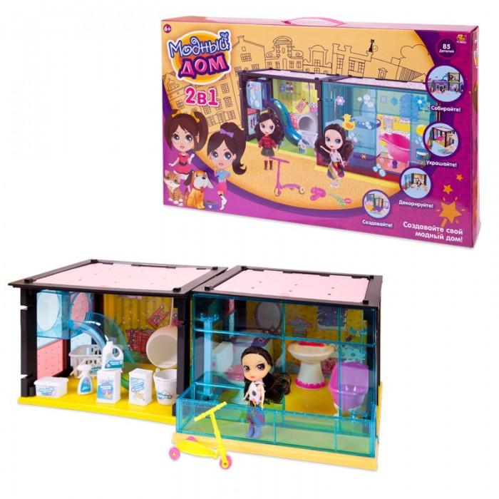 Кукольные домики и мебель ABtoys Модный дом с куклой и мебелью 2 в 1 (85 деталей)