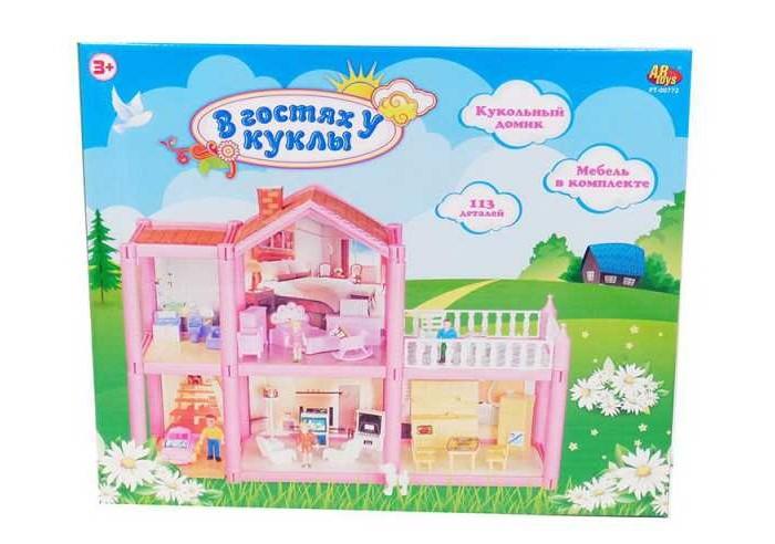 Картинка для ABtoys В гостях у куклы Дом кукольный с мебелью и человечками (113 деталей)
