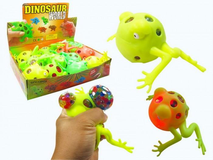 Развивающие игрушки Junfa Мялка с разноцветными шариками Dinosaur World Лягушка со светом