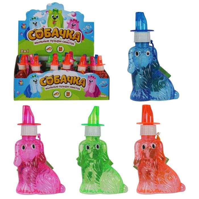 Мыльные пузыри 1 Toy Мы-шарики Мыльные пузыри в виде собачки со свистком 95 мл мыльные пузыри 1 toy мы шарики мыльные пузыри в виде танка со свистком 80 мл