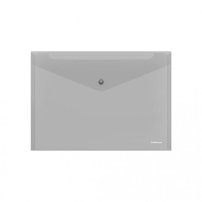 Канцелярия Erich Krause Папка-конверт на кнопке пластиковая Glossy Classic прозрачная А4