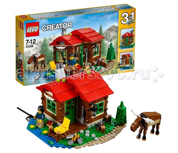 Конструктор Lego Creator 31048 Лего Криэйтор Домик на берегу озераCreator 31048 Лего Криэйтор Домик на берегу озераКонструктор Lego Creator 31048 Лего Криэйтор Домик на берегу озера   Уютный домик на берегу озера понравится всем любителям отдыха на природе. Его стены выполнены из тёмно-коричневых деталей, напоминающих бревенчатую кладку. Фундамент состоит из серых каменных блоков, а крыша покрыта ярко-красной черепицей. Рамы окон и входная дверь выкрашены в зелёный цвет, что идеально сочетается с газоном и деревьями во дворе.   Перед домом обустроена небольшая территория для заготовки дров и приготовления еды на костре. К лесу ведёт плиточная дорожка, а к пруду – широкий помост, на котором можно рыбачить или загорать. Интерьер дома простой и лаконичный. Чтобы его рассмотреть более подробно, можно воспользоваться функцией трансформации и раздвинуть стены. Внутри Вы найдёте печь с дымоходом и плитой, кухонный уголок с полками для посуды, стол с письменными принадлежностями и кровать с голубым покрывалом. Обилие прозрачных окон позволяет наблюдать за лесными животными, которые иногда совсем близко подходят к дому.  Размер дома в собранном виде составляет 10х16х16 см. При желании его можно переделать в обсерваторию или домик для путешественников.  В наборе Лего 31048 присутствуют фигурки лягушки и рыбы, сборная фигурка лося с подвижными ногами, а также минифигурка путешественника с множеством аксессуаров: фонарь, ведро, топор, лопата, удочка, костёр, декоративные рога, кружка, ёмкости для хранения, сковорода, конверт, чернильница с перьями для письма, ёлочка и водные растения.   Количество деталей: 368 шт.<br>