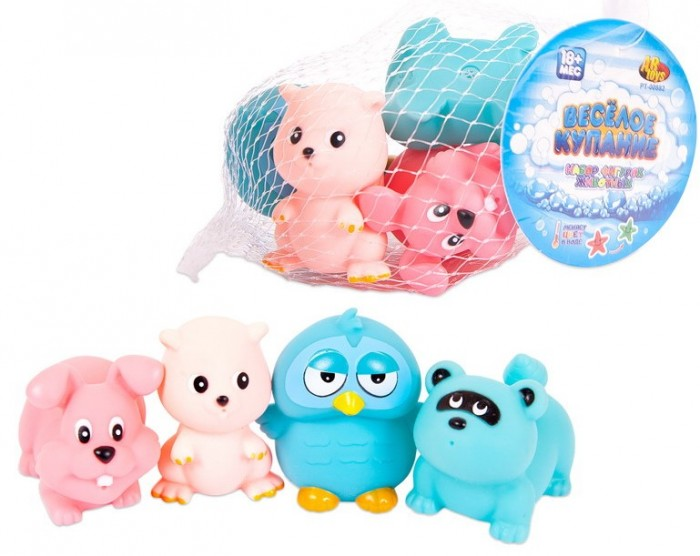 Игрушки для ванны ABtoys Веселое купание Набор резиновых животных (4 предмета)