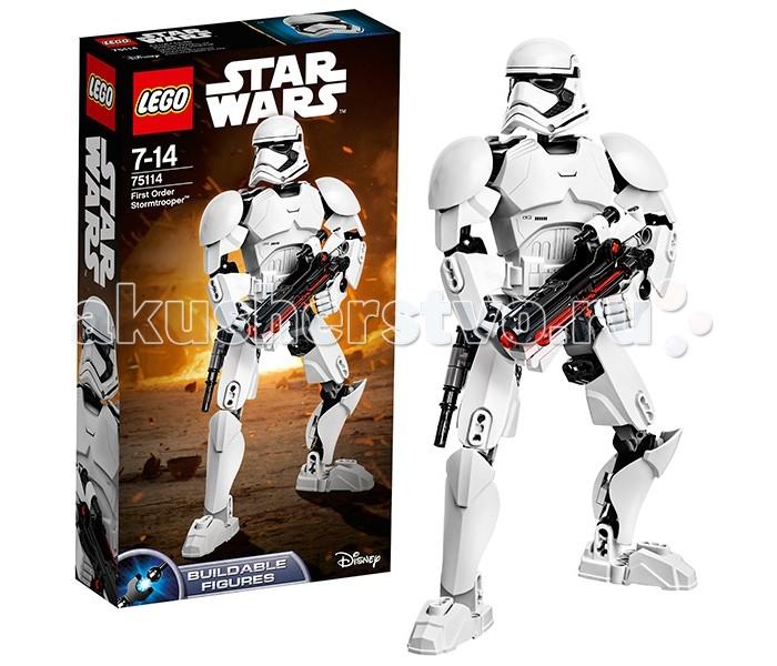Конструктор Lego Star Wars 75114 Лего Звездные Войны Штурмовик Первого ОрденаStar Wars 75114 Лего Звездные Войны Штурмовик Первого ОрденаКонструктор Lego Star Wars 75114 Лего Звездные Войны Штурмовик Первого Ордена  Этот конструктор Lego Star Wars создан по фильму «Пробуждение Силы» и собирается из 81 детали.  Штурмовики Первого Ордена – наследники уже знакомых нам Имперских штурмовиков. Их броня немного отличается - в частности, форма шлема стала более обтекаемой.  Фигура штурмовика от Лего очень подвижна, имеет множество точек артикуляции. Вы можете придать ему любую боевую позицию! Оружие штурмовика – стандартная бластерная винтовка F-11D. В дуло вставляется красная ракетка, которая выстреливает при нажатии. На корпусе винтовки расположены крепления для дополнительного снаряда. К поясу штурмовика крепится специальная дубинка.   Высота фигуры штурмовика в собранном виде составляет 23 см.  Количество деталей: 81 шт.<br>