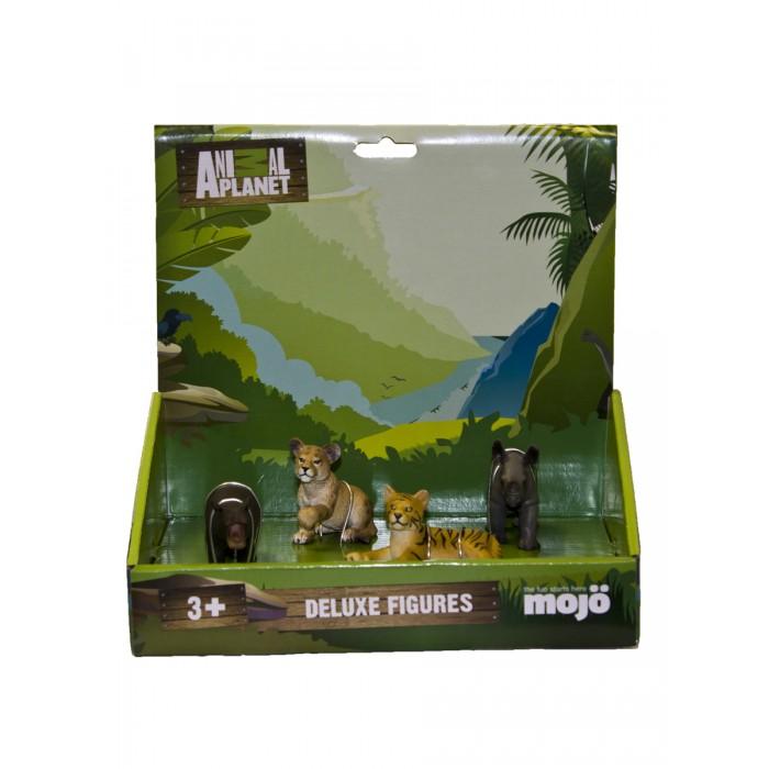 Игровые фигурки Mojo Набор фигурок Animal Planet L: Гиппопотам детеныш S, Носорог детеныш S, Львёнок S, Тигрёнок S mojo фигурка гиппопотам детеныш