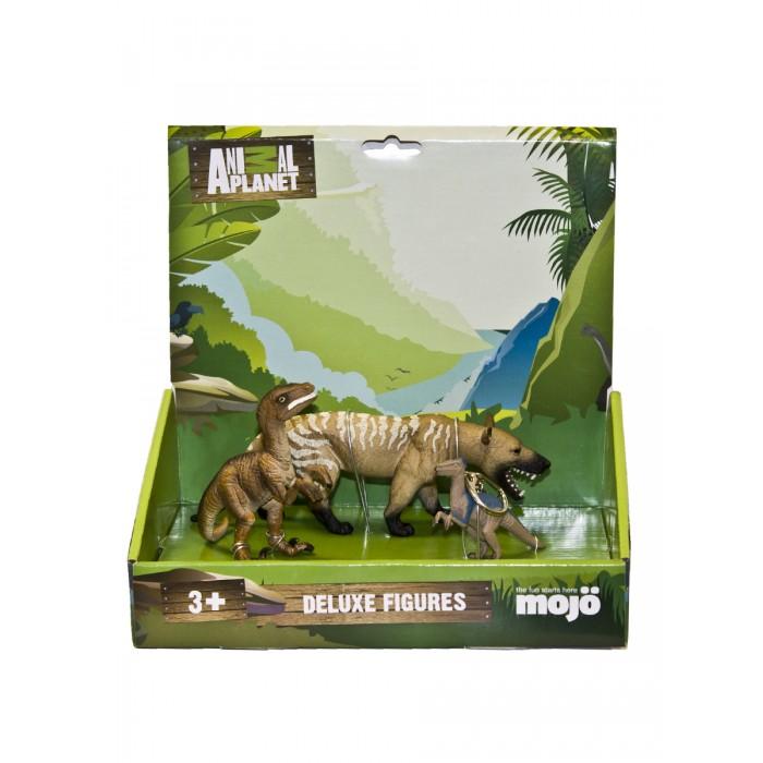 Игровые фигурки Mojo Набор фигурок Animal Planet L: Гиенодон XL, Велоцираптор M, брелок
