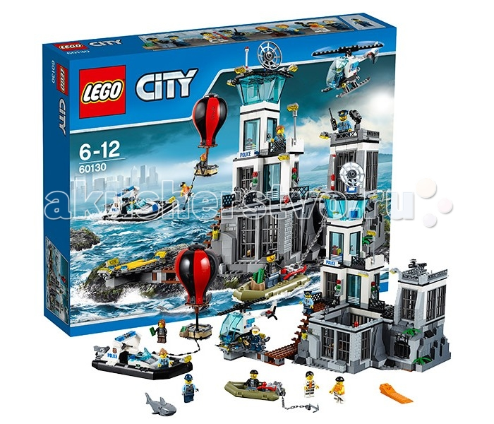 Конструктор Lego City 60130 Лего Город Остров-тюрьмаCity 60130 Лего Город Остров-тюрьмаКонструктор Lego City 60130 Лего Город Остров-тюрьма   Чтобы содержать преступников под стражей вдали от города, полицейские решили построить надёжную и охраняемую тюрьму. Её территория занимает целый отдельно стоящий остров, добраться до которого можно только по воздуху или по воде. Перед тюрьмой устроен небольшой деревянный пирс, доступ к которому разрешён только полицейским катерам или вертолётам. Для дополнительной защиты проход от пирса до главного здания контролируется системой видеофиксации, а на входе каждый полицейский проходит идентификацию, набирая секретный пароль.   Если в тюрьме всё спокойно, то можно подняться на второй этаж в комнату отдыха. Здесь есть кофеварка и кружка, а также панорамные окна, через которые очень удобно наблюдать за происходящим вокруг. При малейшей опасности можно выйти на балкон и по рации передать всю необходимую информацию остальным полицейским. Верхний уровень главного здания представляет собой дозорную вышку, оборудованную мощной системой прожекторов, спутниковой антенной и сигнальным огнём, выполняющим функцию маяка.  Отдельного внимания требует цокольный тюремный этаж, состоящий из нескольких частей. Слева располагается камера для заключённых, в которой поставлена двухъярусная кровать, столик и унитаз. Рядом с камерой организована площадка для прогулок, окружённая надёжными решётками. При желании можно воспользоваться функцией трансформации и отодвинуть часть кирпичной стены. Это даст возможность понаблюдать за тем, как заключённые прогуливаются или занимаются спортом.  Левое крыло тюрьмы построено специально для самых опасных преступников. Одиночная камера находится под пристальным вниманием полицейских. Внутри камеры нет ничего, кроме спального места. Но даже такой контроль не сможет остановить главаря банды воришек. Он слишком умён и расчетлив. Если его подельникам удастся раздобыть воздушный шар и долететь до острова, то он сможет сб