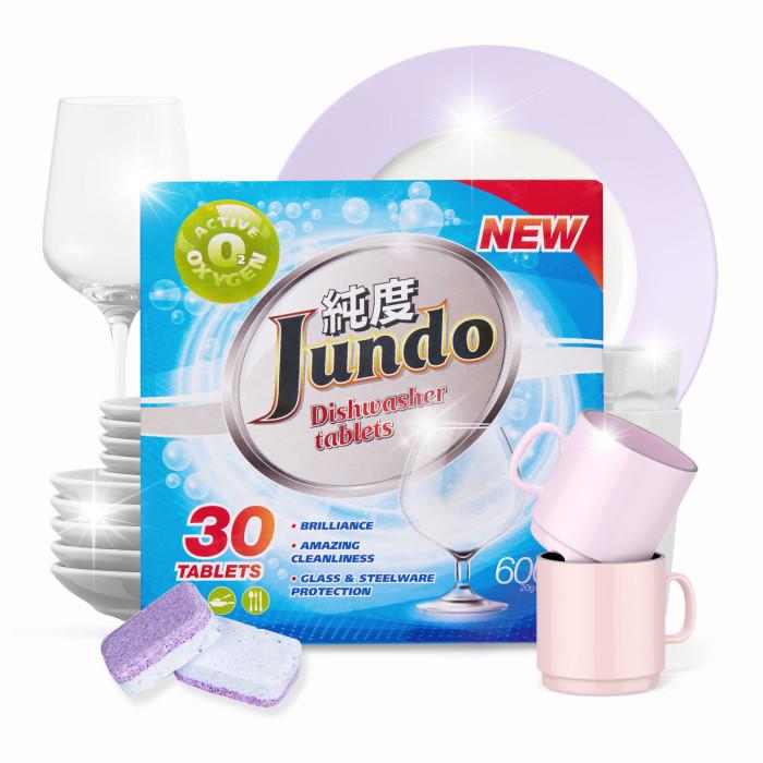 Фото - Бытовая химия Jundo Таблетки для безопасного мытья посуды в ПММ Active Oxygen 3 в 1, без запаха 30 шт. бытовая химия jundo active oxygen таблетки для посудомоечных машин с активным кислородом 30 шт