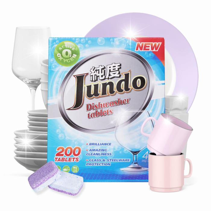 Фото - Бытовая химия Jundo Таблетки для безопасного мытья посуды в ПММ Active Oxygen 3 в 1, без запаха 200 шт. бытовая химия jundo active oxygen таблетки для посудомоечных машин с активным кислородом 30 шт