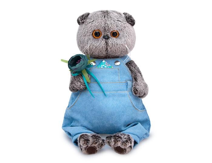 Мягкая игрушка Budi Basa Басик в голубом комбинезоне с цветком 25 см фото