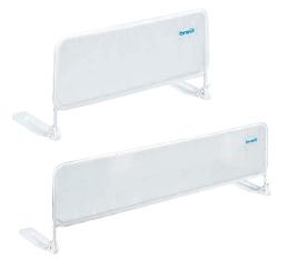 Brevi Защитный барьер на кровать 90 смБарьеры и ворота<br>Защитный барьер в кроватку белого цвета.  Устанавливается на кровати без спинок. Подходит для любого типа кровати и легко фиксируется. Благодаря боковому шарнирному соединению открывается на 180 градусов и позволяет застилать постель не монтируя ограждение.  Барьер закрепляется между матрасом и основой кровати с помощью пластиковых ножек с шарнирным механизмом, опускающим бортик на 180°, обеспечивая беспрепятственный доступ к ребенку. На каркас барьера натянут мягкий сетчатый материал, предотвращающий ушибы во время переворачивания, который можно стирать в деликатном режиме, поддерживая поверхность в чистоте.  Барьер выпускается в двух размерах:   47,5 х 90 см
