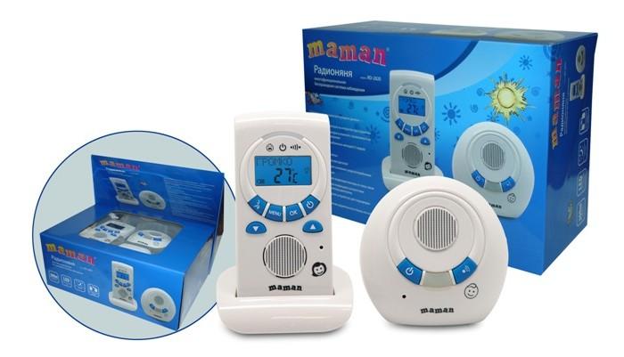 Maman Радионяня RD-2820Радионяня RD-2820Maman Радионяня RD-2820 - это беспроводная система аудио наблюдения за ребенком с возможностью измерения температуры в детской комнате и проигрывания мелодий на детском блоке.  Особенности: Качественный звук без помех Питание как от электрической сети, так и от аккумуляторных батарей (входят в комплект) Дальность до 300 метров Режим «Обратная связь» (возможность поговорить с ребенком) ЖК-дисплей с меню на русском языке Световая и звуковая индикация: выхода из зоны связи, низкого заряда батареи Возможность работы и в стационарном, и в переносном режимах Возможность подзарядки аккумуляторных батарей с помощью встроенного зарядного устройства родительского блока Измерение температуры в комнате Проигрывание колыбельных мелодий (5 видов) Ночник с дистанционным включением Часы, таймер кормления Поиск родительского блока   В комплекте:  Передатчик (Детский блок),  Приемник (Родительский блок),  Сетевой адаптер для Передатчика, Подставка с сетевым адаптером для Приемника, Аккумуляторные батареи.<br>