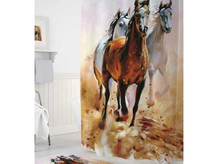 Купить Шторы для ванны, Tropikhome Шторы для ванн полиэстер Digital Printed Horses 180х200 см