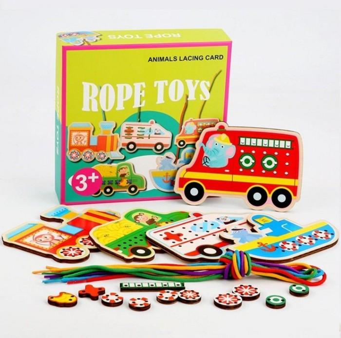 Купить Развивающие игрушки, Развивающая игрушка Наша Игрушка Набор для шнуровки Транспорт (20 деталей)