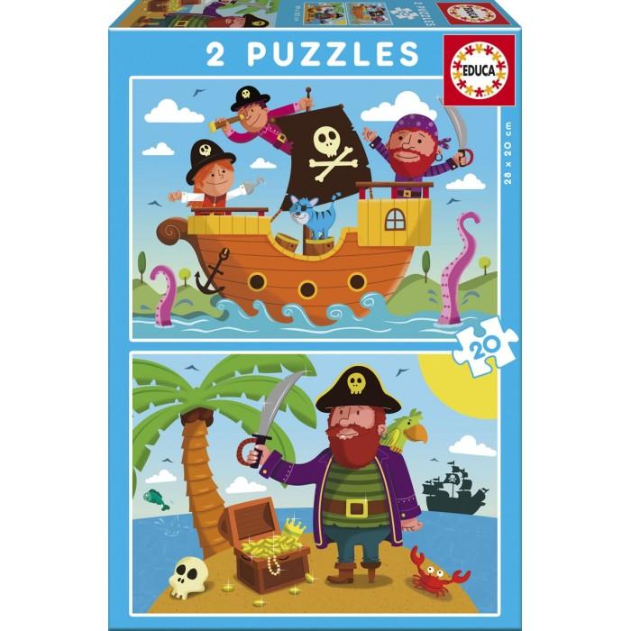 Пазлы Educa Пазлы Пираты 2 в 1 (40 деталей)