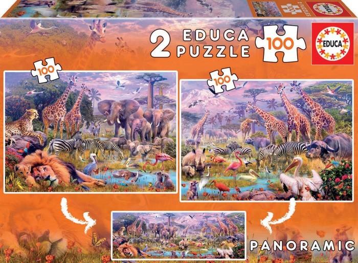 Пазлы Educa Пазл Дикие животные 2 в 1 (200 деталей)
