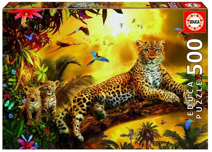 Купить Пазлы, Educa Пазл Леопард и его детеныши (500 деталей)