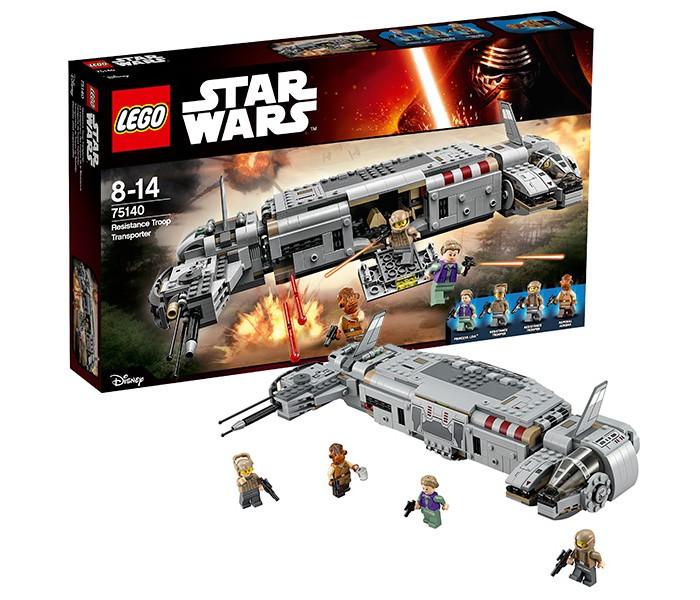 Конструктор Lego Star Wars 75140 Лего Звездные Войны Военный транспорт СопротивленияStar Wars 75140 Лего Звездные Войны Военный транспорт СопротивленияКонструктор Lego Star Wars 75140 Лего Звездные Войны Военный транспорт Сопротивления   Получив сообщение от дроида-шпиона о местонахождении Хана Соло и его спутников, лидер Сопротивления Лея Органа отдала приказ о немедленном вылете к планете Такодана. Первой с тайной базы стартовала эскадрилья истребителей под командованием По Дамерона. Вслед за ними поспешила и сама Лея, заняв место на борту военного транспортника.  Из деталей набора Лего 75140 Вы сможете построить оригинальную модель боевого корабля Сопротивления. Его корпус, покрытый серыми бронированными пластинами, имеет нестандартную сигарообразную форму. В центре располагается командный пункт, попасть в который можно через опускающуюся боковую стенку, превращающуюся в пандус.   Благодаря откидывающимся сегментам крыши, весь интерьер корабля доступен для изучения и игры. Здесь есть три посадочных места для экипажа, приборные панели и держатели для бластеров. Справа от командного пункта видна кабина пилота с обтекаемым лобовым стеклом. Используя вращающийся диск, его можно плавно поднять и рассмотреть рулевое управление.   В левой части корабля сосредоточено навигационное и боевое оборудование. Длинные антенны и датчики передают координаты местонахождения истребителей противника, а мощные пусковые ракетницы бьют точно в цель.  Размер военного транспортника Сопротивления составляет 8х33х20 см.  В наборе присутствуют 4 минифигурки: Лея Органа, адмирал Акбар и 2 солдата Сопротивления.  Количество деталей: 646 шт.<br>