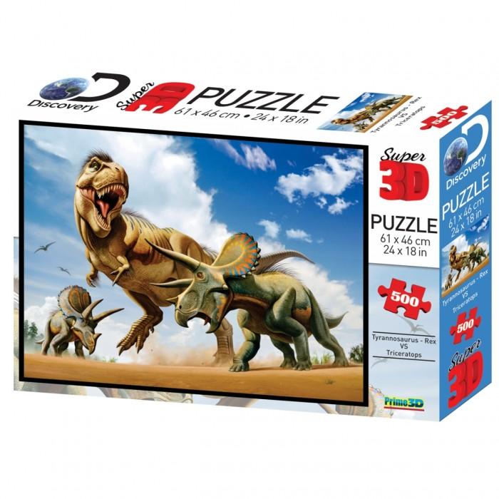 Пазлы Prime 3D Пазл Стерео Тираннозавр против трицератопса пазлы prime 3d пазл super коллаж кошки 500 деталей