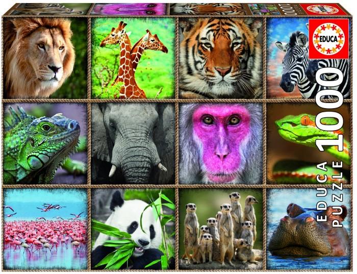 Фото - Пазлы Educa Пазл Коллаж Дикие звери (1000 деталей) пазл educa мир банкнот 1000 деталей