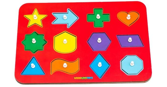 Деревянные игрушки Woodland Рамка-вкладыш Монтессори геометрия 2