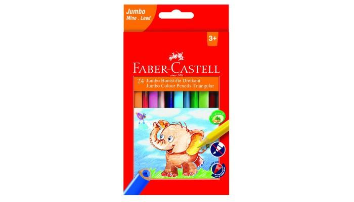 Карандаши, восковые мелки, пастель Faber-Castell Карандаши цветные Jumbo трехгранные с точилкой 24 цвета