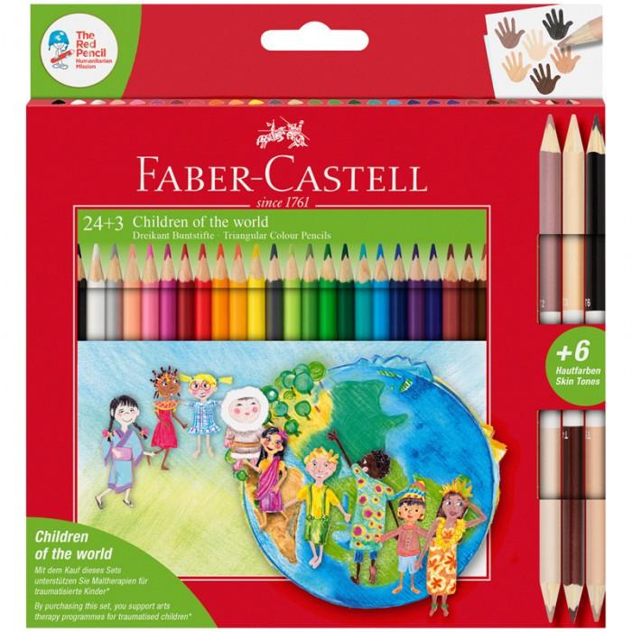 Фото - Карандаши, восковые мелки, пастель Faber-Castell Карандаши цветные Дети мира трехгранные 30 цветов карандаши восковые мелки пастель kores карандаши цветные шестигранные с точилкой 12 цветов