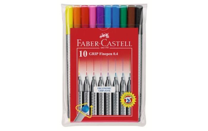 Картинка для Faber-Castell Набор капиллярных ручек Grip Finepen трехгранные 0,4 мм 10 цветов