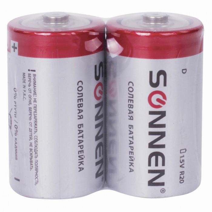 Батарейки, удлинители и переходники Sonnen Батарейки D (R20) солевые 2 шт.