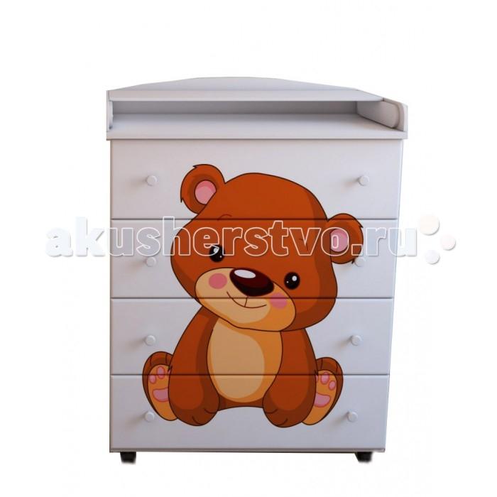 Комод Берегиня Медвежонок пеленальный (4 ящика)