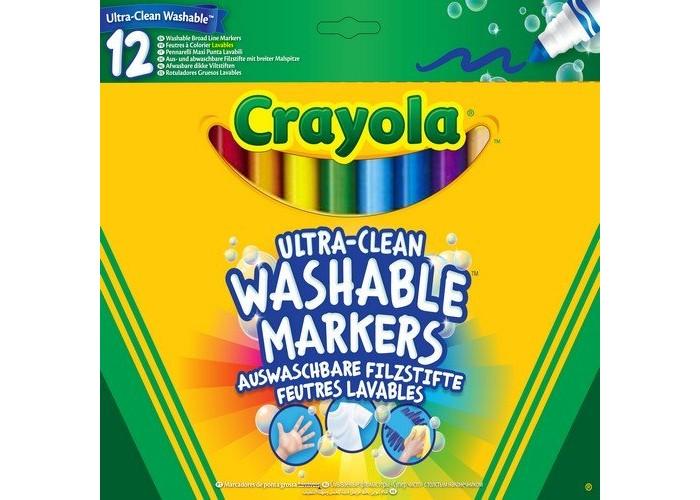 Фломастеры Crayola смываемые Супер чисто 12 шт. crayola мелки восковые треугольные смываемые 16 шт