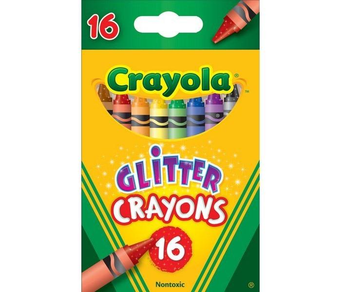 Карандаши, восковые мелки, пастель Crayola Мелки восковые с блестками 16 шт. crayola мелки восковые треугольные смываемые 16 шт
