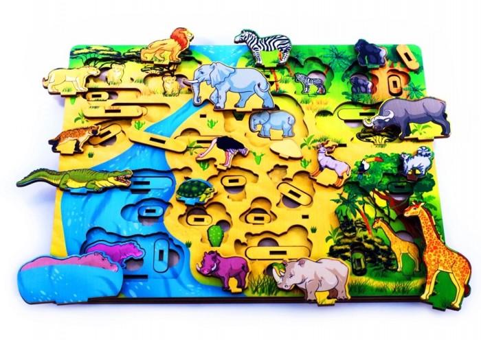 Купить Деревянные игрушки, Деревянная игрушка Нескучные Игры Доска 3D Водопой на Лимпопо