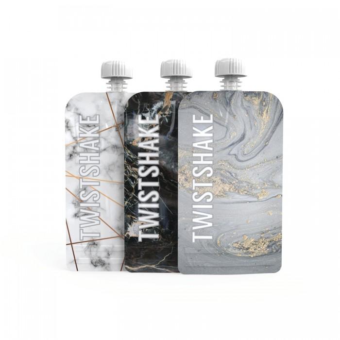 Twistshake Многоразовые пакеты для детского питания Squeeze Bag Мрамор 220 мл 3 шт. от 4 мес. от Twistshake