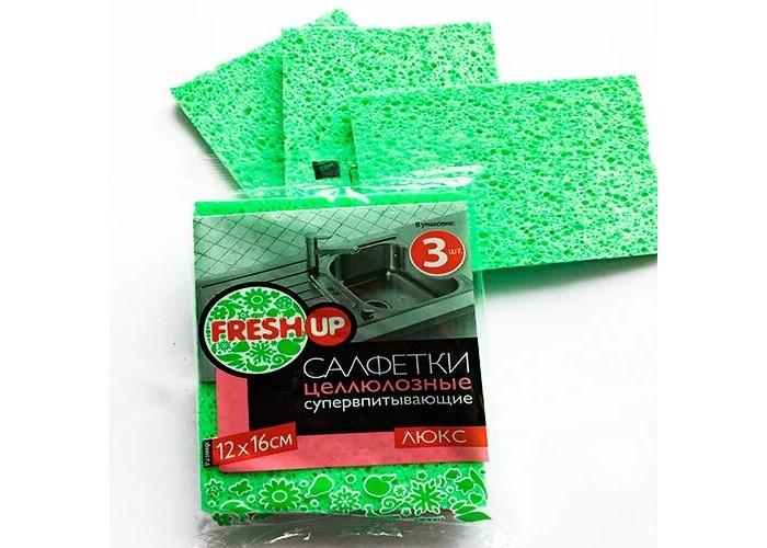 Хозяйственные товары Fresh Up Салфетка целлюлозная Люкс 12х16 см 3 шт.