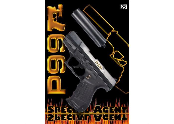 Игрушечное оружие, Sohni-wicke Пистолет с глушителем Специальный агент P99 25-зарядный 298 мм  - купить со скидкой