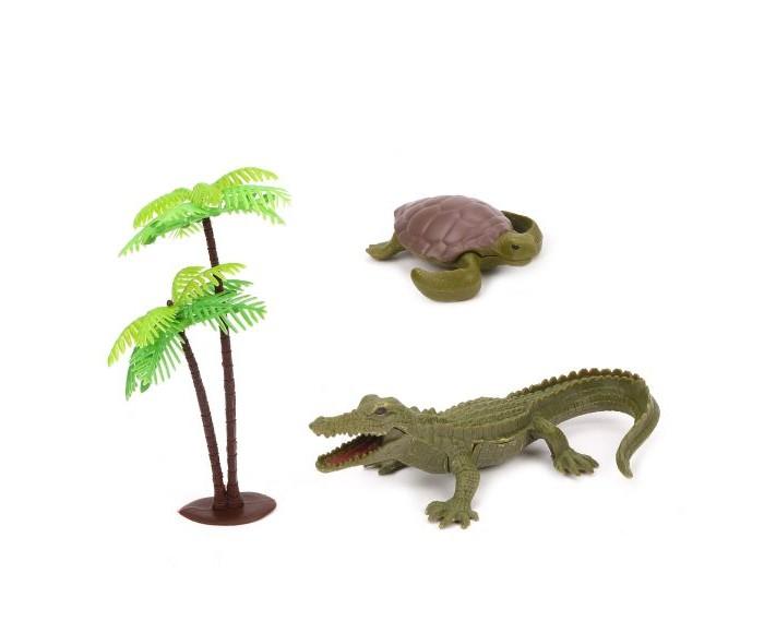 Игровые фигурки Наша Игрушка Набор фигурок Дикие животные крокодил, черепаха и пальма