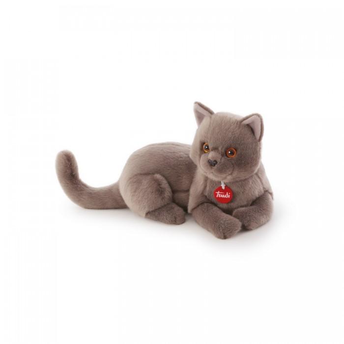 Мягкая игрушка Trudi Серый кот Помпео 38 смСерый кот Помпео 38 смМягкая игрушка Trudi Серый кот Помпео 38 см. Это благородный кот Помпео. Он любит ласку и заботу. Разместите его у себя на коленях, и возможно вы услышите, как он мурчит. Ведь он так похож на настоящего! Серая короткая шерстка, пронзительные глаза, игривый хвост и гибкое тело — просто загляденье.  Игрушка в лежачей позе, и по размеру ничем не уступает своим живым соратникам — 38 см. Он будет радовать своего хозяина, развлекать его и украшать своим присутствием дом. Ухаживать за плюшевым котом просто: игрушку можно стирать в машинке. Она не потеряет свой внешний вид и будет долго радовать своего владельца.  Сделана игрушка из экологически чистых материалов.<br>