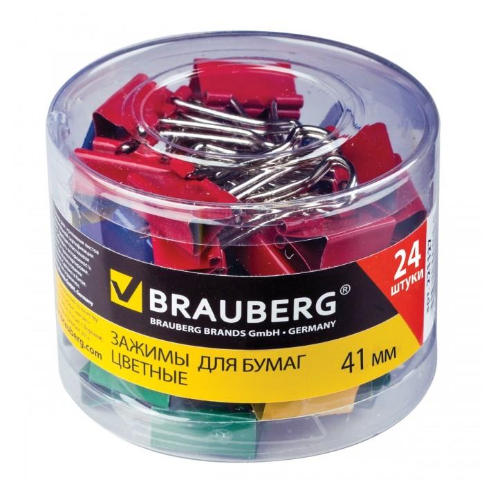 Канцелярия Brauberg Зажимы для бумаг на 200 листов 24 шт. зажимы для бумаг staff комплект 12 шт 41 мм на 200 листов цветные в картонной коробке 225159