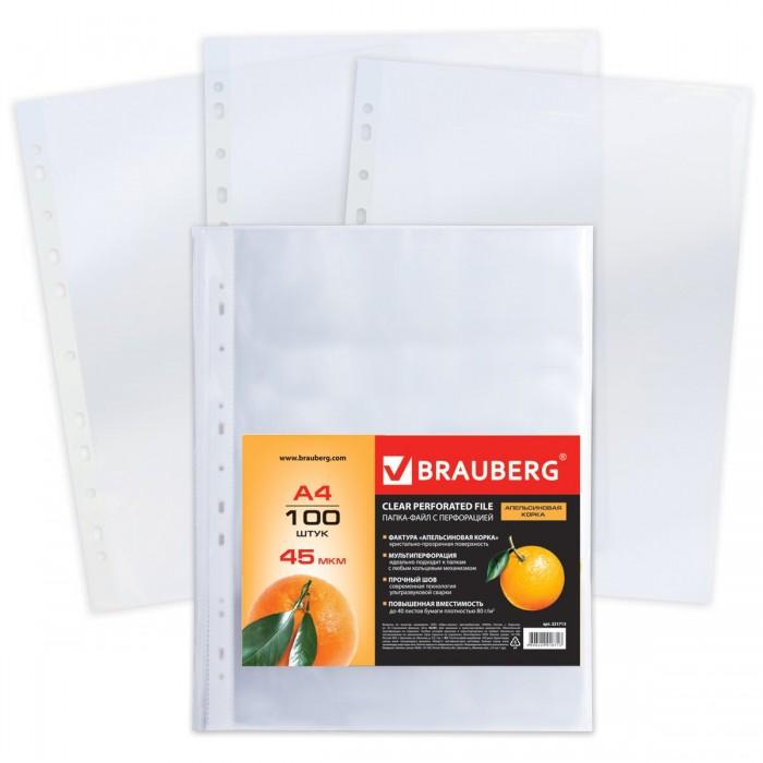 Канцелярия Brauberg Папки-файлы перфорированные А4 100 шт.